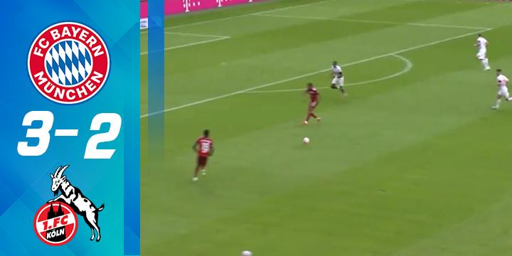 德甲-莱万破门+中框格纳布里双响 拜仁3-2科隆取联赛首胜