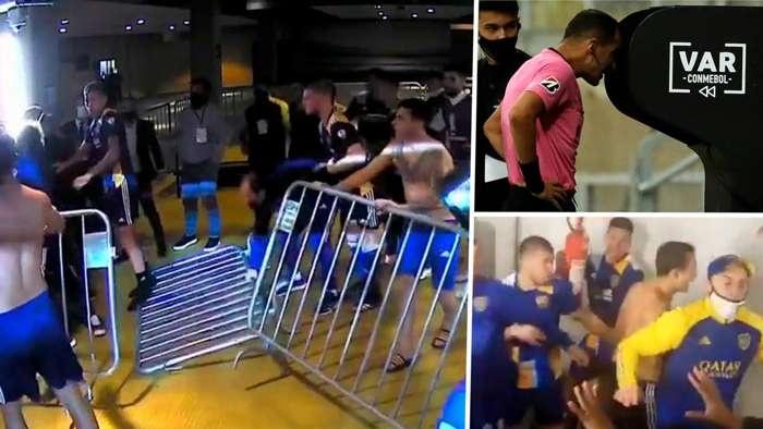 进球网:不满var判罚,博卡球员赛后与警察发生激烈冲突