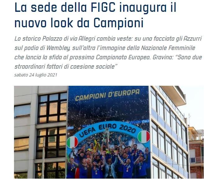 有牌面!意大利欧洲杯夺冠巨幅海报登上意足协总部