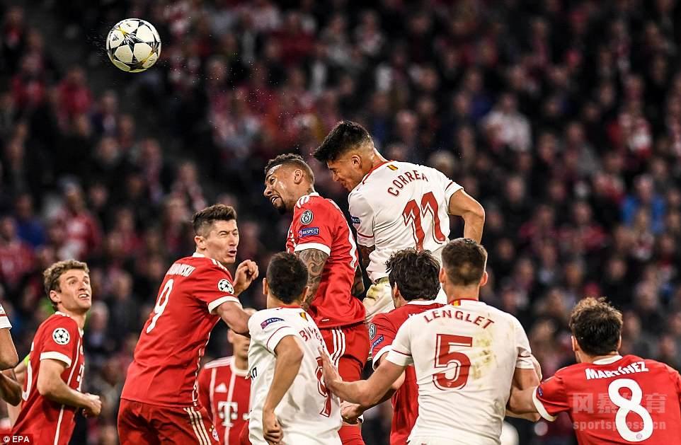 欧冠-科雷亚染红莱万失机 拜仁淘汰塞维7年6进半决赛
