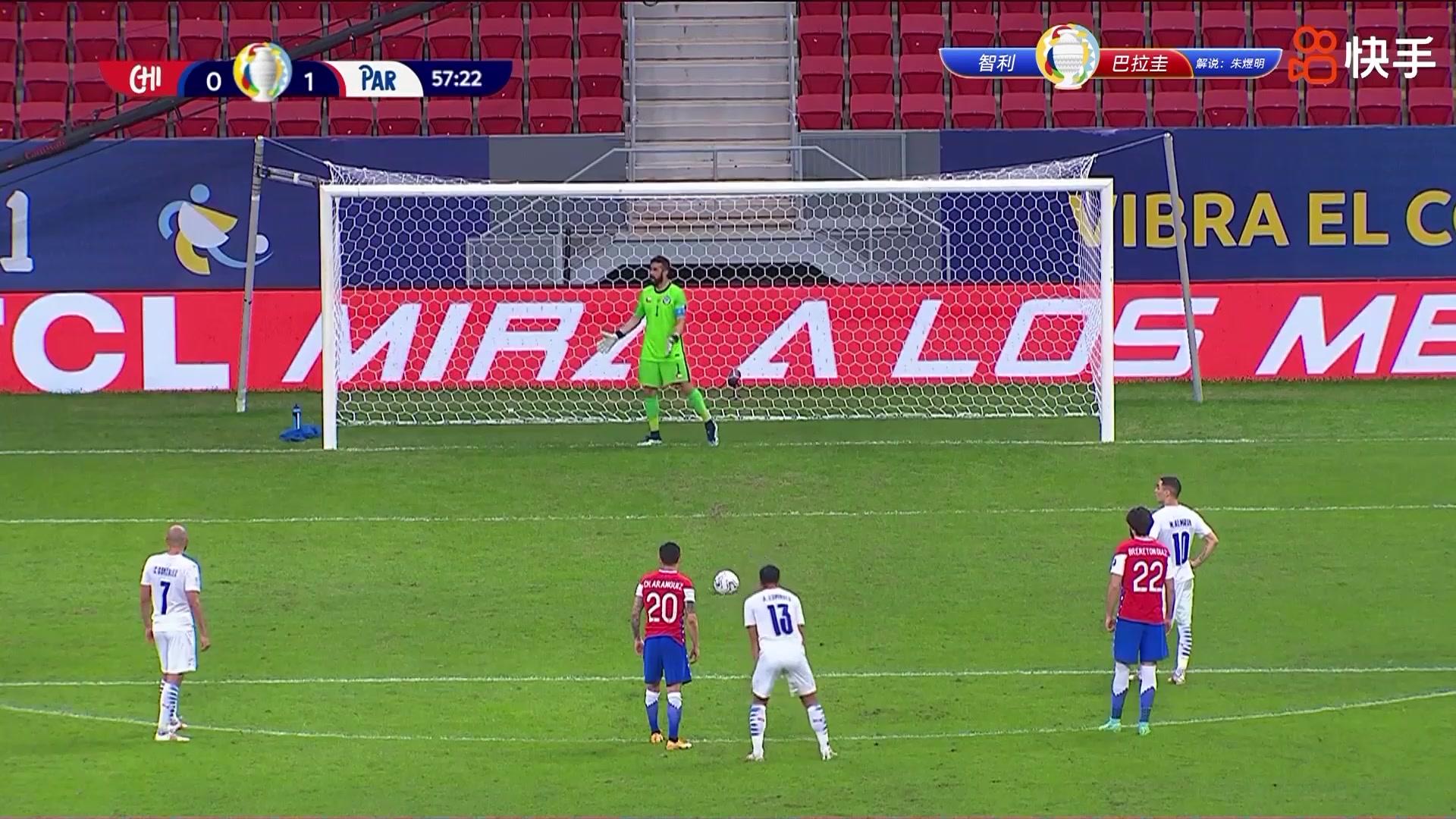 巴拉圭获得点球良机 阿尔米隆主罚稳稳命中