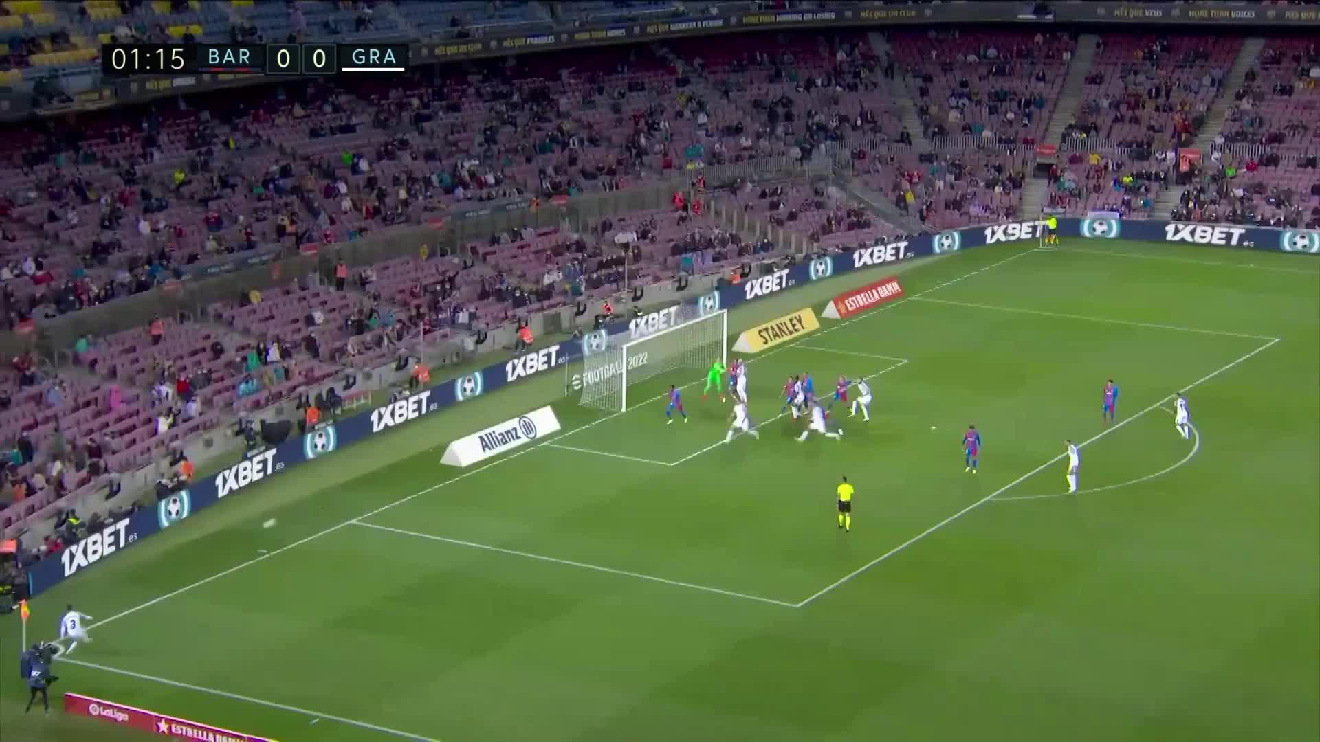巴萨开场2分钟丢球 多明戈斯-杜阿尔特后点头球破门