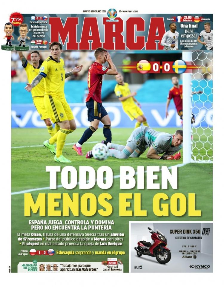 西甲今日头版:西班牙一切都好 进球却不好 法国将和德国一起举办一个大型活动