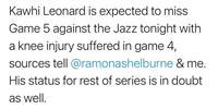 快船莱昂纳德可能因膝伤错过G5