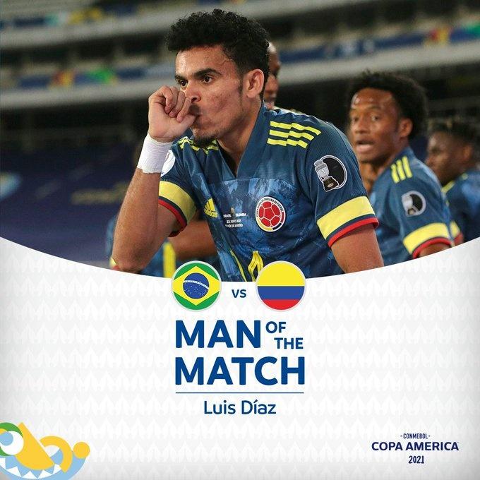 官方:打破倒刺的迪亚兹当选巴西VS哥伦比亚的最佳球员