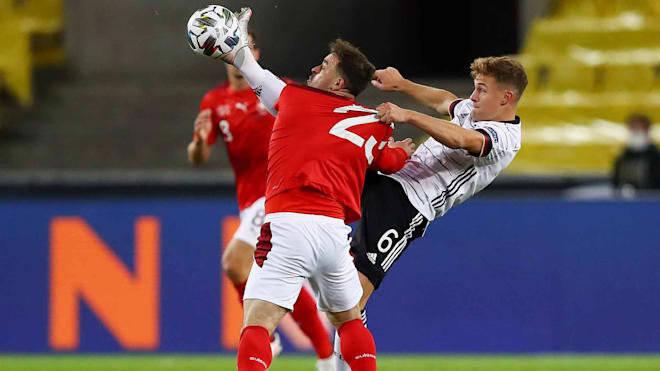 欧国联第4轮德国队3:3战平瑞士队,两队最终各拿到一分