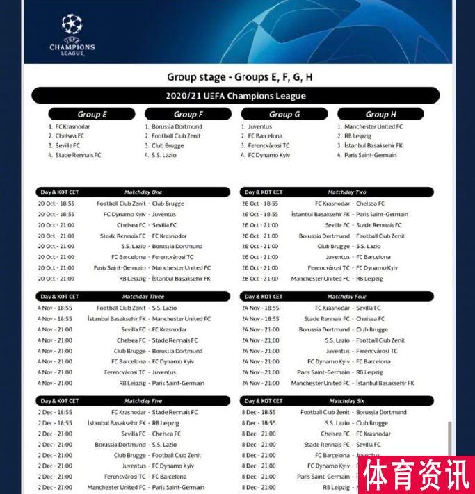 2020-2021赛季欧冠赛程出炉:梅罗将迎来第一场欧冠对决