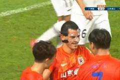 中超联赛报道:广州城1-3山东泰山费莱尼齐天羽断贾德松首球