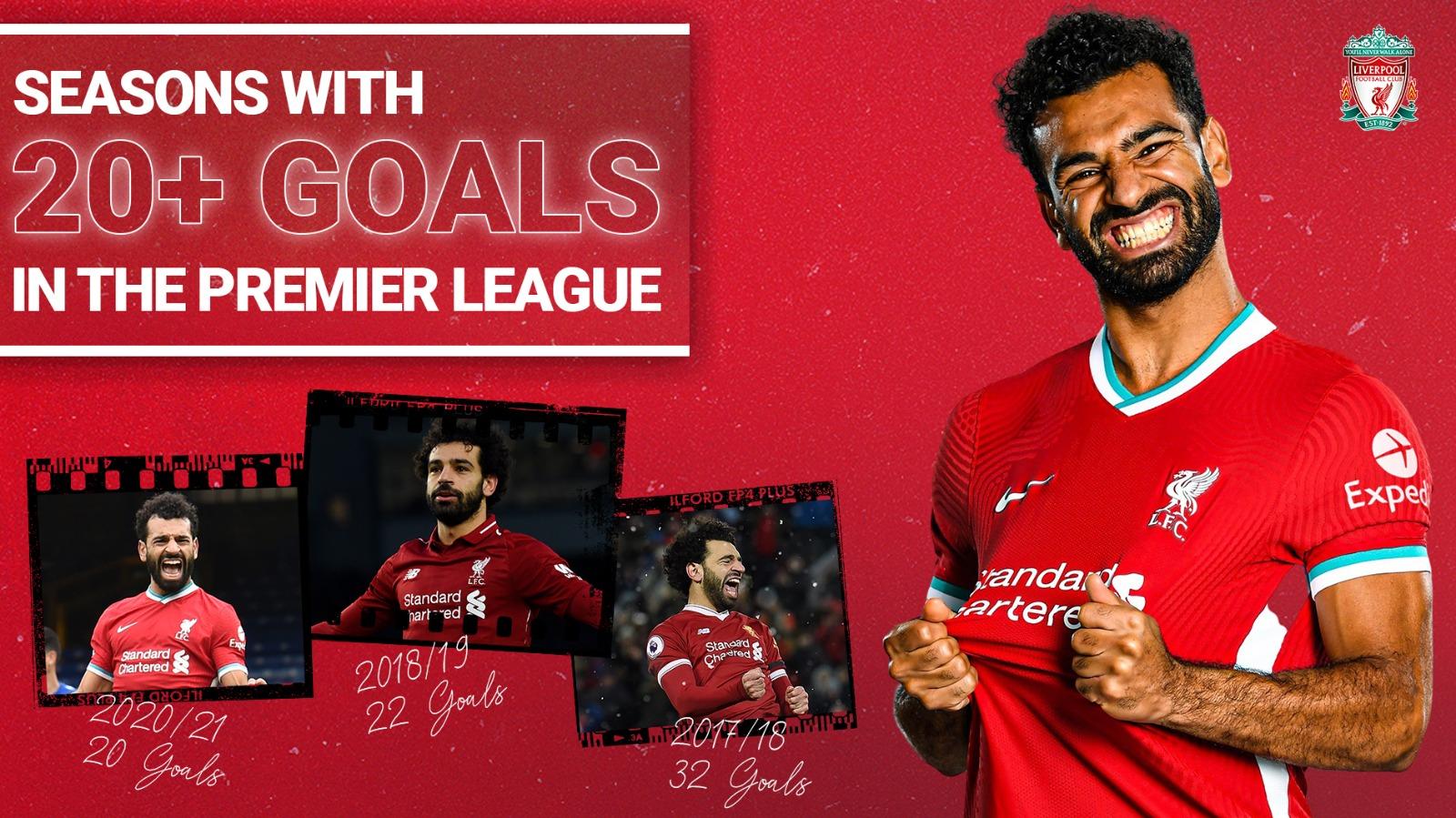 利物浦汗青第一人!萨拉赫三个赛季在英超联赛中进了20个球