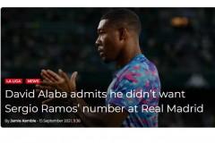 阿拉巴:我并不想穿拉莫斯的4号 但俱乐部让我接过这个号码
