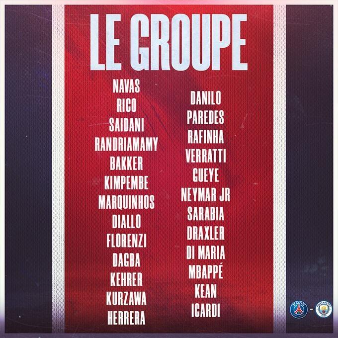巴黎vs曼城名单:由内马尔和姆巴佩领衔