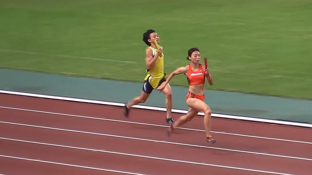 日本田径比赛,男女接力赛跑,这跑的也太猛了!