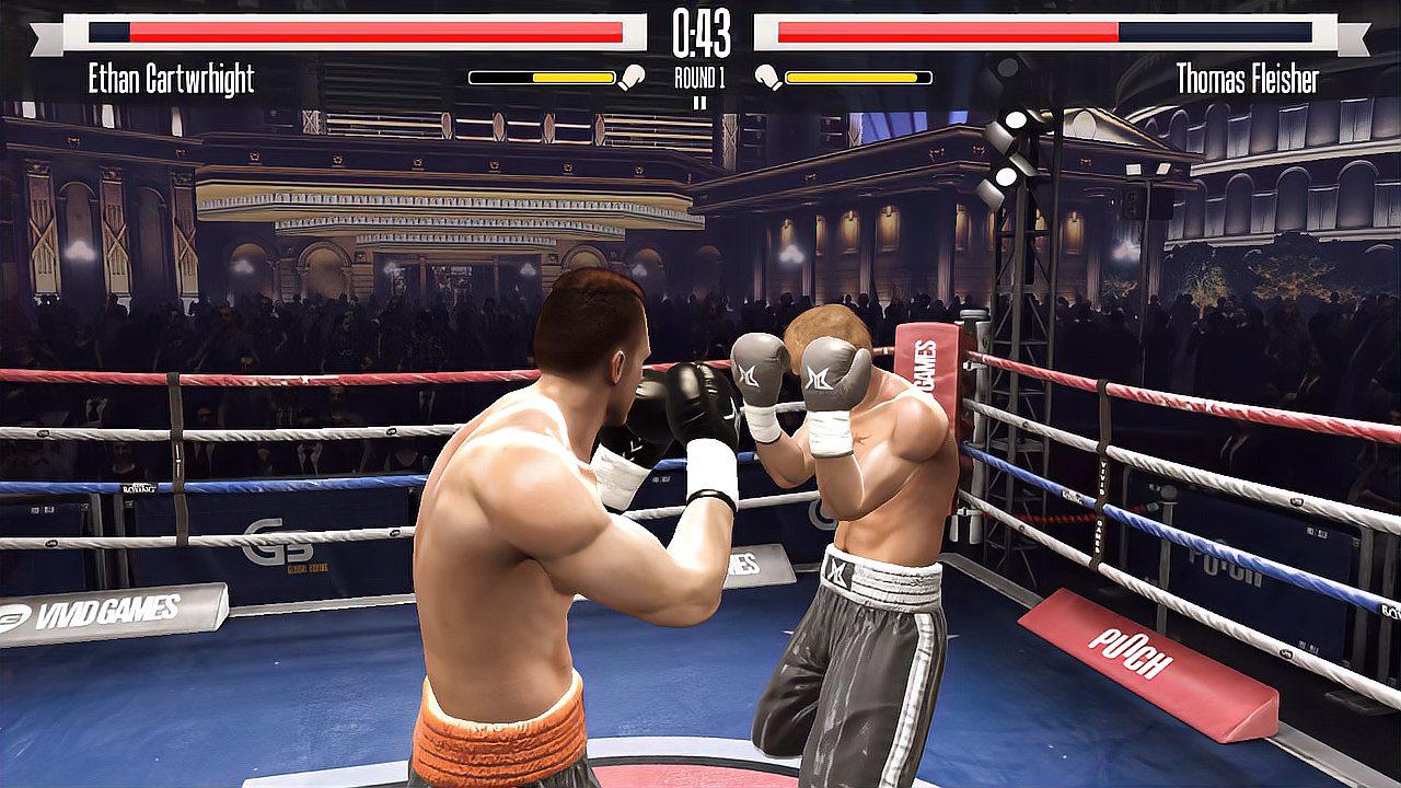 东北话拳击,第一回合左勾拳击倒对手,取得胜利