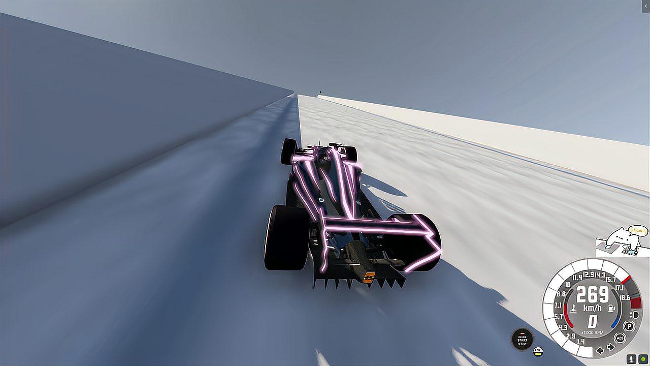 F1方程式赛车挑战巨型斜坡,毫无压力啊!